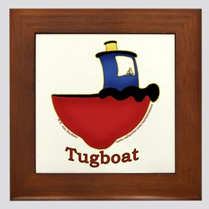 Cute Tugboat Picture Framed Tile