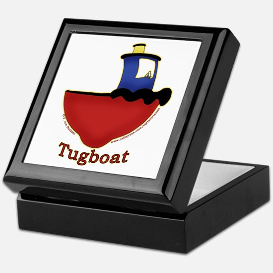 Cute Tugboat Picture Keepsake Box