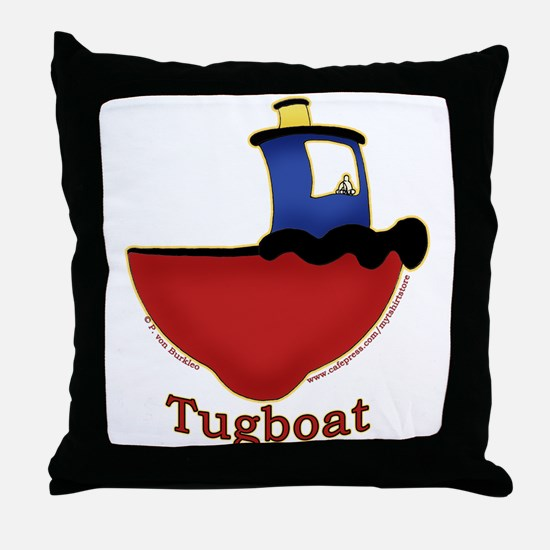 Cute Tugboat Picture Throw Pillow