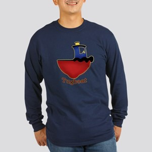Cute Tugboat Picture Long Sleeve Dark T-Shirt