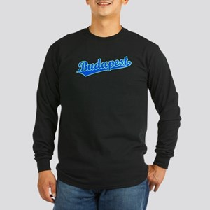 Retro Budapest (Blue) Long Sleeve Dark T-Shirt