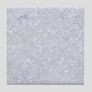 DAMASK1 WHITE MARBLE & SILVER GLITTER Tile Coaster