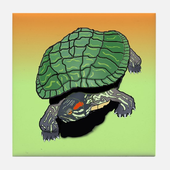 Red Eared Slider (Turtle) Tile Coaster