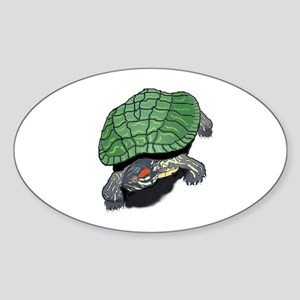 Red Eared Slider (Turtle) Oval Sticker