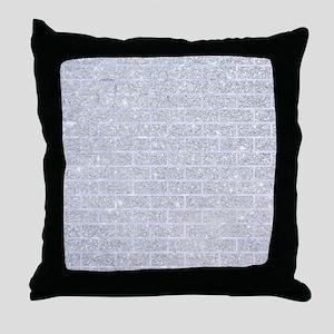 BRICK1 WHITE MARBLE & SILVER GLITTER Throw Pillow