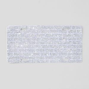 BRICK1 WHITE MARBLE & SILVE Aluminum License Plate