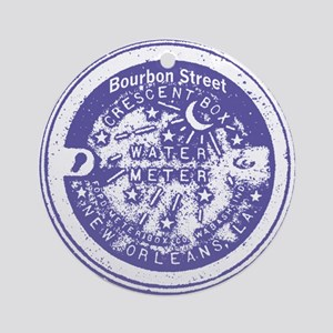 Bourbon St Water Meter Lid Ornament (Round)