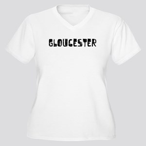 Gloucester Faded (Black) Women's Plus Size V-Neck