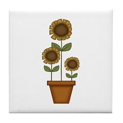 Sunflower Planter Tile Coaster