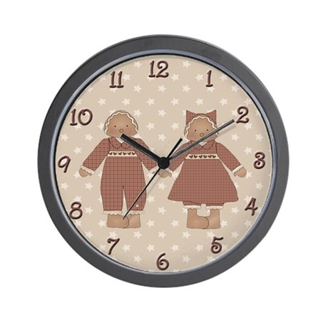 Country Gingerbread Couple Wall Clock