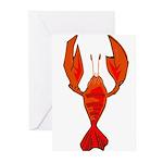 Crawfish Fleur De Lis Shape Greeting Cards (Pk of