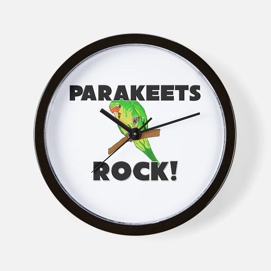 Parakeets Rock! Wall Clock