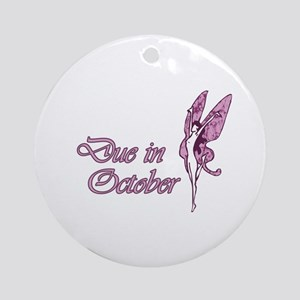 Due October Pink W Fairy Ornament (Round)