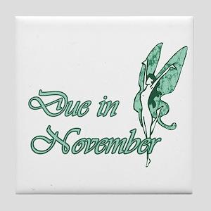 Due November Green W Fairy Tile Coaster
