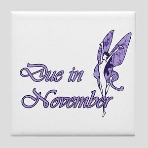 Due November Purple W Fairy Tile Coaster