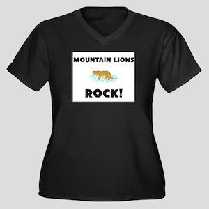 Mountain Lions Rock! Women's Plus Size V-Neck Dark