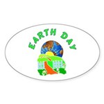 Earth Day Home Oval Sticker (10 pk)