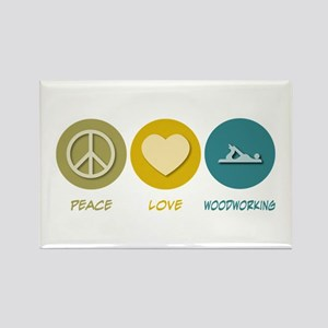 Peace Love Woodworking Rectangle Magnet