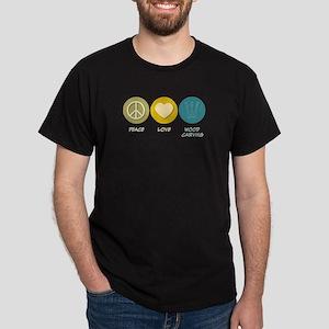 Peace Love Wood Carving Dark T-Shirt