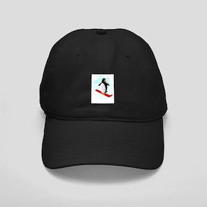 Snowboarding Penguin Black Cap