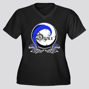 DYONX BLUE WAVE: Women's Plus Size V-Neck Dark T-S