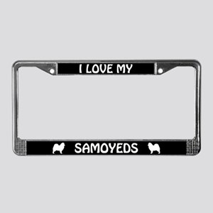 I Love My Samoyeds (PLURAL) License Plate Frame