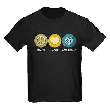 Peace Love Volleyball Kids Dark T-Shirt