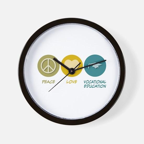 Peace Love Vocational Education Wall Clock