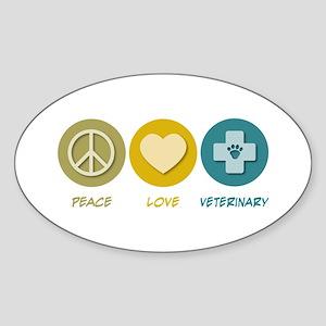 Peace Love Veterinary Oval Sticker