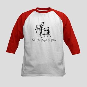 Never Too Pooped To Polka Kids Baseball Jersey