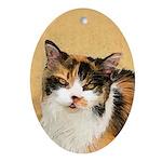 Calico Cat Oval Ornament