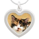Calico Cat Silver Heart Necklace