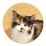 Calico Cat Round Car Magnet