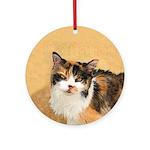 Calico Cat Round Ornament