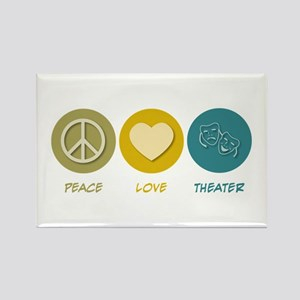 Peace Love Theater Rectangle Magnet