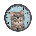 Gray Tabby Cat Wall Clock