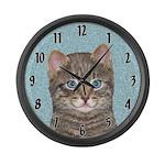 Gray Tabby Cat Large Wall Clock