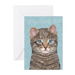 Gray Tabby Cat Greeting Cards (Pk of 20)