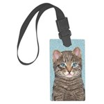 Gray Tabby Cat Large Luggage Tag
