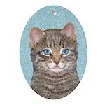 Gray Tabby Cat Oval Ornament