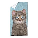 Gray Tabby Cat Beach Towel