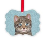 Gray Tabby Cat Picture Ornament