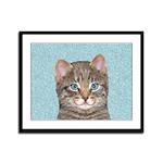 Gray Tabby Cat Framed Panel Print