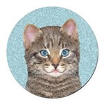 Gray Tabby Cat Round Car Magnet