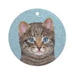 Gray Tabby Cat Round Ornament
