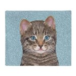 Gray Tabby Cat Throw Blanket