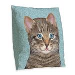 Gray Tabby Cat Burlap Throw Pillow