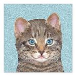 Gray Tabby Cat Square Car Magnet 3