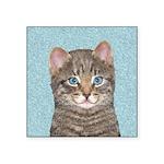 Gray Tabby Cat Square Sticker 3
