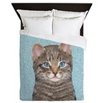 Gray Tabby Cat Queen Duvet